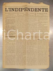 1915 PIACENZA Giornale L'INDIPENDENTE Italia soccorra vittime terremoto MARSICA