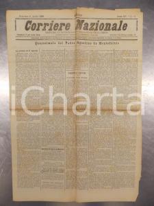 1888 CORRIERE NAZIONALE Padre Agostino da MONTEFELTRO parte da TORINO *Giornale