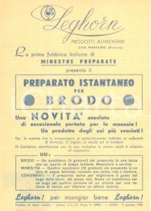 1950 SALE MARASINO (BS) Prodotti alimentari LEGHORN per brodo *Volantino