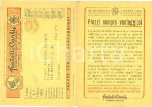 1953 IMPERIA ONEGLIA Fratelli CARLI olio d'oliva Listino prezzi ILLUSTRATO