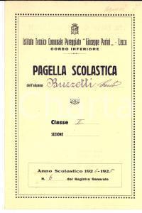1925 LECCO Pagella di Carlo BUZZETTI - Istituto Tecnico