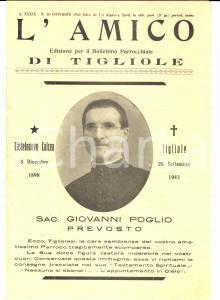 1943 TIGLIOLE (AL) L'amico - Trigesima parroco don Giovanni POGLIO *Bollettino