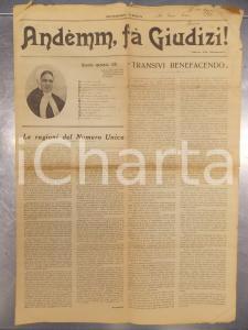 1923 MILANO SAN VITTORE Andemm, fa giudizi! Suor PIA MANZONI *Numero unico RARO