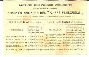 1910 ca TORINO Società Anonima CAFFE' VENEZUELA Listino dei prezzi correnti