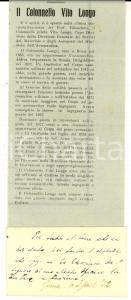 1932 ROMA In morte del colonnello Vito LONGO *Articolo con preghiera manoscritta