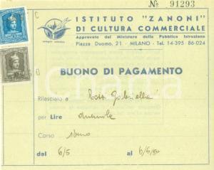 1950 MILANO Istituto ZANONI di Cultura Commerciale *Buono di pagamento