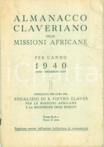 1940 ALMANACCO CLAVERIANO delle Missioni Africane e redenzione degli schiavi