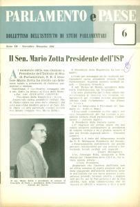 1956 PARLAMENTO E PAESE Senatore Mario ZOTTA Presidente dell'ISP *Bollettino