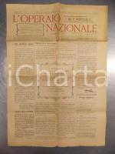 1902 BOLOGNA L'OPERAIO NAZIONALE Comitato ringrazia Alfonso GIBELLI *Giornale