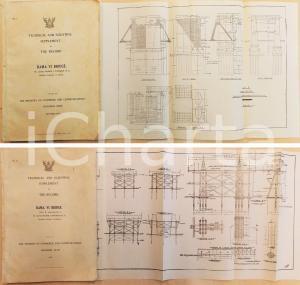1926 BANGKOK Progetto costruzione Ponte RAMA VI con 20 TAVOLE PIEGHEVOLI *RARO