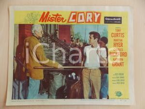 1957 MISTER CORY Henry DANIELL blocca Tony CURTIS con stecca biliardo LOBBY CARD