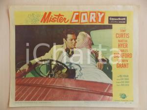 1957 MISTER CORY Tony CURTIS Martha HYER Bacio in auto LOBBY CARD *Manifestino