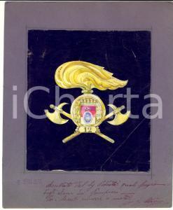 1935 MILANO Fregio per elmo dei Pompieri *BOZZETTO DISEGNATO A MANO DANNEGGIATO