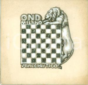 1935 ca MILANO OND Circolo scacchistico *Bozzetto DISEGNATO A MANO per medaglia