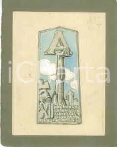 1935 ASTI Concorso Ginnastico Internazionale Bozzetto DISEGNATO A MANO medaglia
