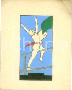 1935 ca MILANO GIL Gare atletica femminile *Bozzetto DISEGNATO A MANO