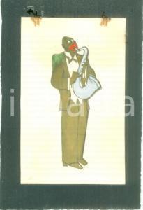 1935 ca MILANO Jazzista nero con sax *Bozzetto DISEGNATO A MANO per medaglia