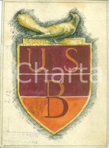 1935 ca MILANO Unione Sportiva U.S.B. *Bozzetto DISEGNATO A MANO per distintivo