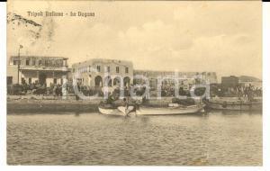 1912 TRIPOLI ITALIANA La Dogana *Cartolina ANIMATA con barche e cavalli