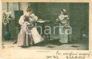1901 FRANCE Bambina regala fiori alla mamma per compleanno *Cartolina FP VG