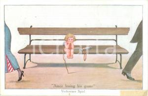 1940 ca CUPIDO perde la partita Amor losing his game *Cartolina ILLUSTRATA FP NV
