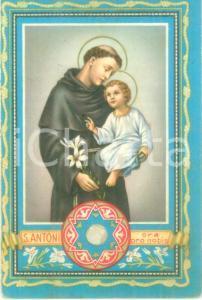 1940 PADOVA Santino SANT'ANTONIO con reliquia tela toccata da Sacra Lingua
