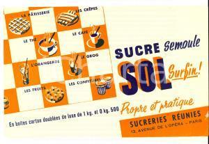 1950 PARIS SUCRERIES REUNIES Sucre SOL *Carta assorbente PUBBLICITARIA 20x13