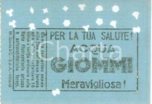 1955 ca MILANO Tessera ATM Acqua minerale GIOMMI Tessera forata