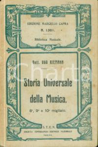 1927 Ugo RIEMANN Storia universale della musica Quarta edizione *Volume