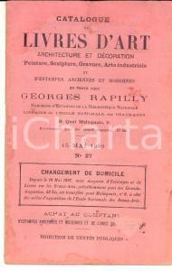 1898 PARIS Librairie GEORGES RAPILLY Catalogue de livres d'art et estampes n°27