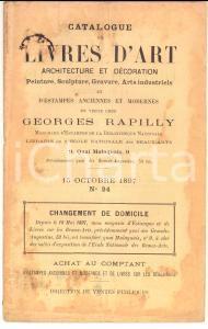 1898 PARIS Librairie GEORGES RAPILLY Catalogue de livres d'art et estampes n°24
