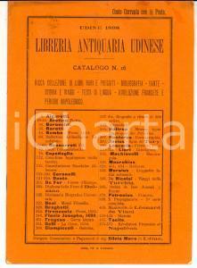 1898 UDINE Libreria Antiquaria Udinese - Catalogo libri rari e pregiati n° 16
