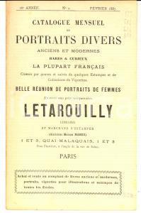1887 PARIS Librairie LETAROUILLY Catalogue portraits femmes rares et curieux n°2