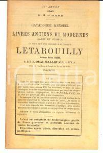 1887 PARIS Librairie LETAROUILLY Catalogue livres anciens et modernes n°3