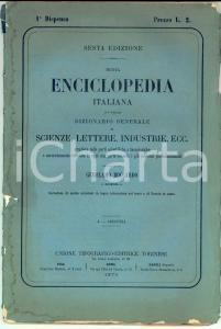 1875 TORINO BOCCARDO Nuova ENCICLOPEDIA Italiana 6^ ed. 1^ dispensa UTET