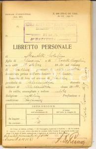 1932 BRA (CN) Scuola Allievi ARTIGLIERIA 5^ batteria Libretto Serafino MANTELLI
