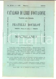 1900 TORINO Catalogo libreria FRATELLI BOURLOT Libri occasione n°XXI Miscellanea