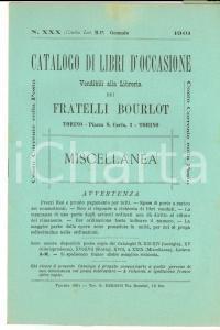 1901 TORINO Catalogo libreria FRATELLI BOURLOT Libri occasione n°XXX Miscellanea