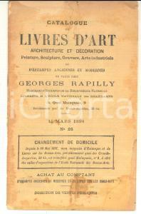 1898 PARIS Librairie GEORGES RAPILLY Catalogue de livres d'art n°26 - DAMAGED