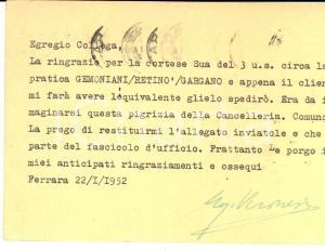 1952 FERRARA Cartolina avv. Ugo VERONESI a un collega *AUTOGRAFO FG VG