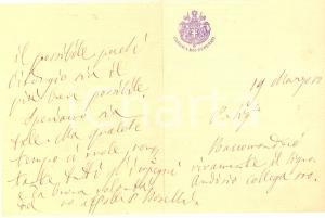 1880 ROMA Paolo BOSELLI chiede tempo per una raccomandazione *Autografo