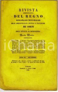 1858 TORINO Rivista Amministrativa del Regno - Leggi doganali *Anno IX