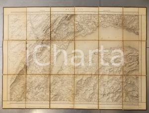 1874 DUFOUR Carte SUISSE GENEVE - LAUSANNE *Mappa n° 16 75x55 cm