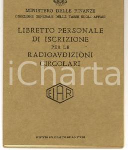 1938 VENEZIA EIAR Radioaudizioni circolari Francesco DE LUCA *Libretto personale