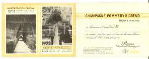 1950 ca REIMS (FRANCE) Champagne POMMERY & GRENO *Biglietto pubblicitario