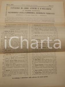 1900 PISTOIA Libreria Rodolfo NERUCCI Catalogo libri antichi e d'occasione n° 5