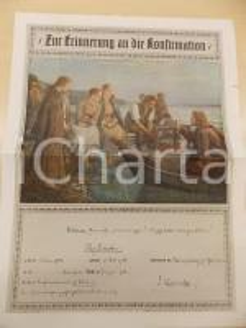 1922 MUNSTER (D) Cresima di Elsy SCHROEDER *Certificato ILLUSTRATO 27x36 cm