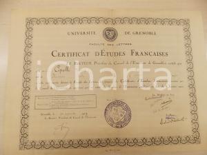 1947 UNIVERSITE' DE GRENOBLE Certificat Etudes Françaises a Vittorio CIPELLI