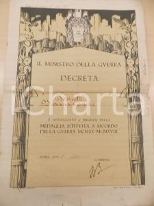1921 ROMA Attestato a Giuseppe DONISOTTI Medaglia ricordo guerra 1915-1918