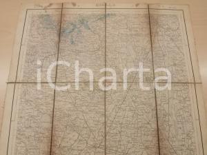 1907 Istituto Geografico Militare CARTA D'ITALIA - BIELLA *Mappa su tela 45x45